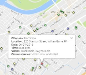 INTERACTIVE: Map of violent crime in Wilkes-Barre, 01/01/16-6/30/16
