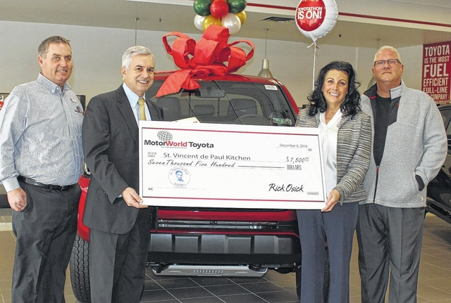 Motorworld toyota supports the st vincent de paul kitchen for Motor world wilkes barre